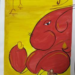 shri ganesha, 11 x 15 inch, juhi gupta,11x15inch,paper,paintings,religious paintings,ganesha paintings,paintings for dining room,paintings for living room,paintings for office,paintings for kids room,paintings for hotel,paintings for kitchen,paintings for school,paintings for hospital,poster color,GAL01358923913,ganpati bappa morya,ganesh chaturthi,ganesh murti,elephant god,religious,lord ganesh,ganesha,om,hindu god,shiv parvati, putra,bhakti,blessings,aashirwad,pooja,puja,aarti,ekdant,vakratunda,lambodara,bhalchandra,gajanan,vinayak,prathamesh,vignesh,heramba,siddhivinayak,mahaganpati,omkar,mushak,mouse,ladoo,modak,shlok