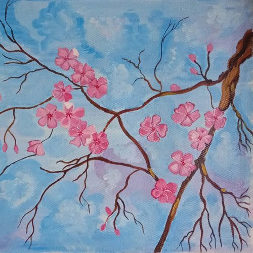 the nature and the flowers, 16 x 12 inch, abhik mahanti,16x12inch,canvas,flower paintings,landscape paintings,acrylic color,GAL0404423917