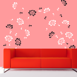 wall stencil: glossy flower design wall stencil , 2 pieces stencil (size 8x7, 8x5, 3x4 inches) | reusable | diy, 12 x 12 inch, wall stencil designs,12x12inch,ohp plastic sheets,flower designs,plastic,GAL0123928,ARS-11