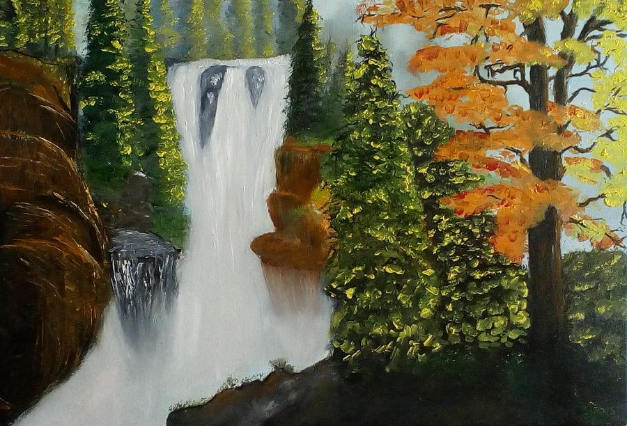 nature of forest waterfall oil, 30 x 20 inch, dhrumil modi modi,nature paintings,paintings for office,paintings for living room,canvas board,oil,30x20inch,GAL09012393Nature,environment,Beauty,scenery,greenery,trees,water,beautiful,waterfall