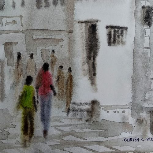 mohalla assi ( banaras ), 8 x 11 inch, girish chandra vidyaratna,8x11inch,paper,paintings,cityscape paintings,landscape paintings,paintings for living room,watercolor,GAL03623931