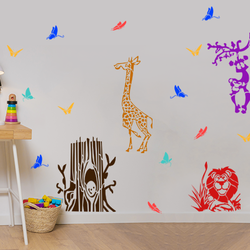 wall stencil: animal wall stencil design for kids room, 5 pieces stencil (size 18x24 inches) | reusable | diy, 18 x 24 inch, wall stencil designs,18x24inch,ohp plastic sheets,flower designs,plastic,GAL0123962,ARS152