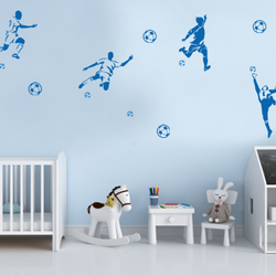 wall stencil: football playing wall design stencil for kids room, 5 pieces stencil (size 8x12 inches) | reusable | diy, 8 x 12 inch, wall stencil designs,8x12inch,ohp plastic sheets,flower designs,plastic,GAL0123975,ARS157