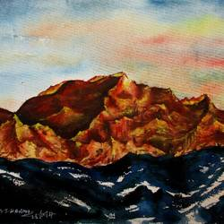 mountain-3, 15 x 11 inch, tamal sen sharma,15x11inch,handmade paper,paintings,nature paintings,paintings for dining room,paintings for living room,paintings for bedroom,paintings for office,paintings for bathroom,paintings for kids room,paintings for hotel,paintings for kitchen,paintings for school,paintings for hospital,watercolor,GAL01201323976,mountain,rock,hard