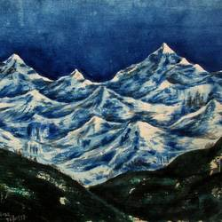 mountain-2, 15 x 11 inch, tamal sen sharma,15x11inch,handmade paper,paintings,nature paintings,paintings for dining room,paintings for living room,paintings for bedroom,paintings for office,paintings for bathroom,paintings for kids room,paintings for hotel,paintings for kitchen,paintings for school,paintings for hospital,watercolor,GAL01201323977,mountain,rock,hard