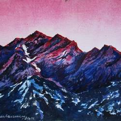 mountain-1, 15 x 11 inch, tamal sen sharma,15x11inch,handmade paper,paintings,nature paintings,paintings for dining room,paintings for living room,paintings for bedroom,paintings for office,paintings for bathroom,paintings for kids room,paintings for hotel,paintings for kitchen,paintings for school,paintings for hospital,watercolor,GAL01201323979,mountain
