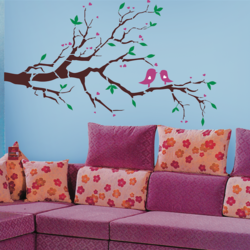 wall stencil: nature tree wall design stencil , 19 pieces stencil (size 60x36 inches) | reusable | diy, 60 x 36 inch, wall stencil designs,60x36inch,ohp plastic sheets,flower designs,plastic,GAL0123984,ARS111