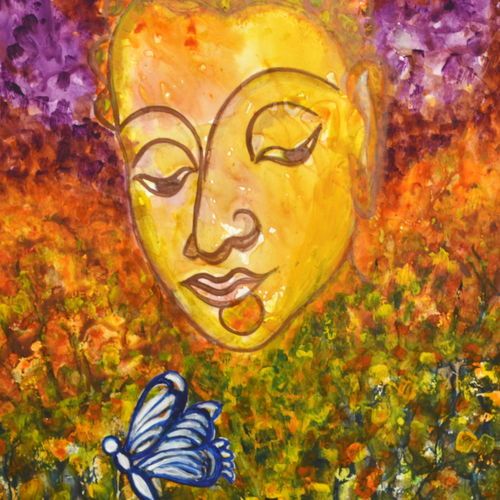 lord buddha- a soulful journey, 11 x 14 inch, manjiri kanvinde,buddha paintings,paintings for living room,religious paintings,paintings for office,thick paper,acrylic color,11x14inch,religious,peace,meditation,meditating,gautam,goutam,buddha,colourful,butterfly,GAL01202399