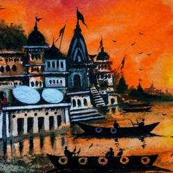 beautiful old architecture varanasi ghat - ii, 11 x 8 inch, girish chandra vidyaratna,11x8inch,paper,paintings,landscape paintings,paintings for living room,watercolor,GAL03623993