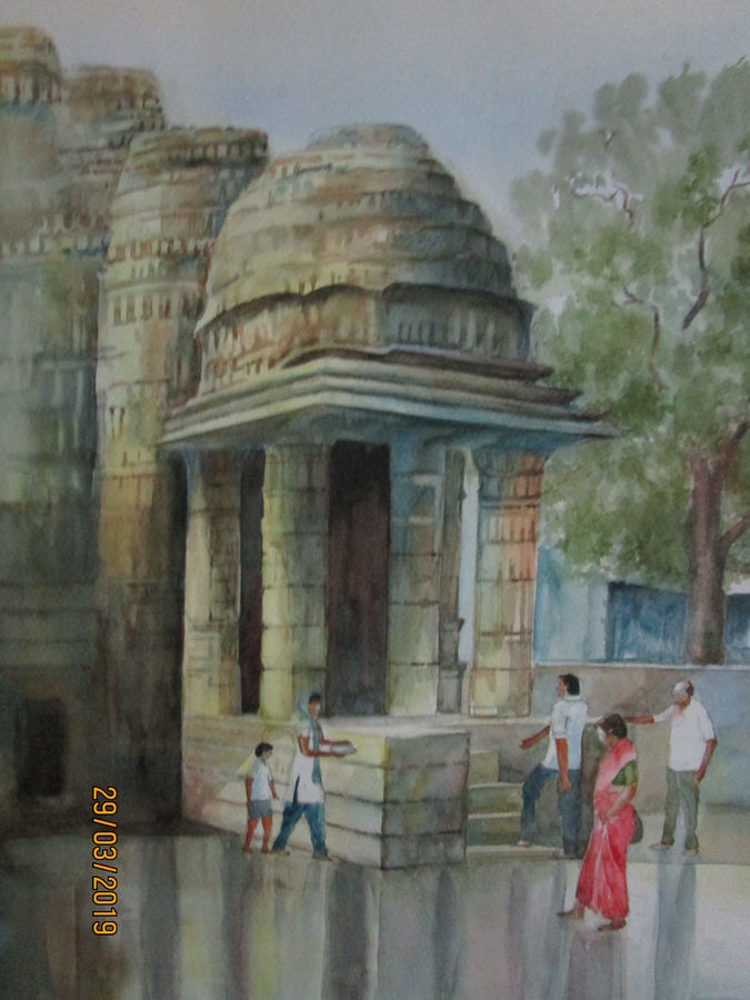 ambernath shiva temple, 14 x 21 inch, tapas paul,14x21inch,fabriano sheet,paintings,religious paintings,watercolor,GAL01146623998