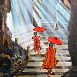 path to enlightenment, 18 x 24 inch, manjiri kanvinde,buddha paintings,paintings for living room,religious paintings,paintings for office,canvas,acrylic color,18x24inch,religious,peace,meditation,meditating,gautam,goutam,buddha,monks,temple,buddhist,GAL01202400