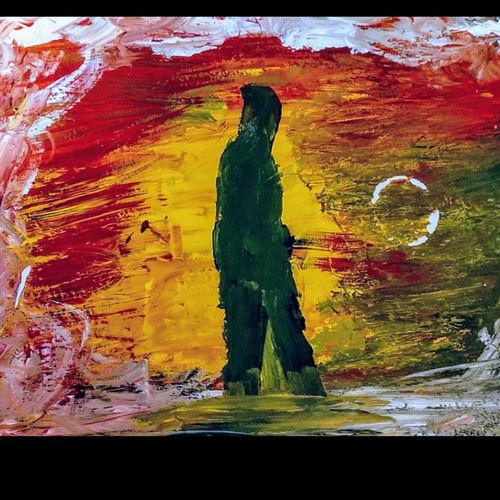 alone, 16 x 12 inch, jyoti arya,16x12inch,thick paper,paintings,figurative paintings,expressionism paintings,acrylic color,GAL01380324011