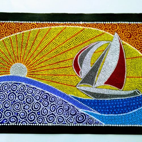 sunset with yatch, 22 x 15 inch, geeta kwatra,22x15inch,handmade paper,paintings,abstract paintings,nature paintings,paintings for living room,paintings for office,paintings for hotel,acrylic color,GAL0899124015