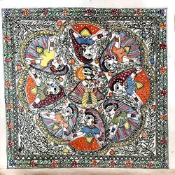 folk-a-holic madhubani painting, 24 x 24 inch, srishty chandra,24x24inch,canvas,paintings,madhubani paintings,paintings for dining room,paintings for living room,paintings for bedroom,paintings for hotel,fabric,GAL01339624024