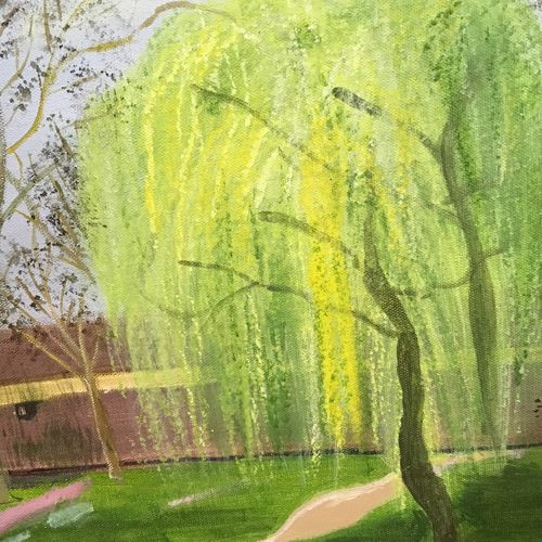 willow tree, 16 x 12 inch, saradha devi prabhakaran,16x12inch,canvas board,paintings,landscape paintings,nature paintings,children paintings,paintings for living room,paintings for bedroom,paintings for office,paintings for bathroom,paintings for hotel,paintings for school,acrylic color,GAL0798824035