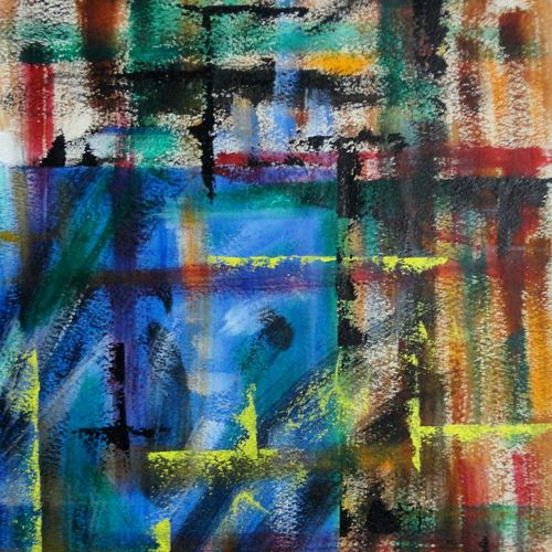 blue wall, 14 x 21 inch, tamal sen sharma,14x21inch,handmade paper,paintings,abstract paintings,paintings for dining room,paintings for living room,paintings for bedroom,paintings for office,paintings for bathroom,paintings for kids room,paintings for hotel,paintings for kitchen,paintings for school,paintings for hospital,acrylic color,GAL01201324047