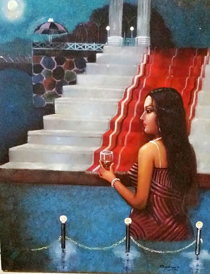 beauty of fantasy, 30 x 36 inch, chandreyee dutta,figurative paintings,portrait paintings,paintings for bedroom,canvas,acrylic color,30x36inch,GAL08352405