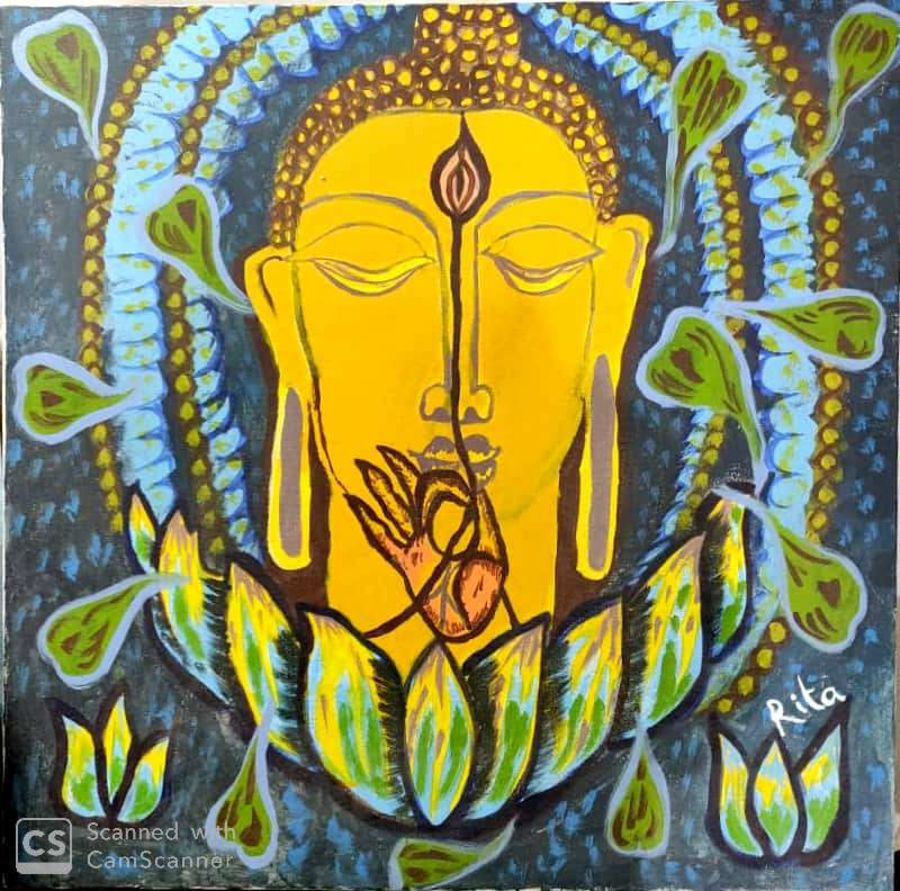 lord buddha - source of happiness, 30 x 30 inch, rita dash,30x30inch,canvas,paintings,buddha paintings,figurative paintings,conceptual paintings,religious paintings,paintings for living room,paintings for bedroom,paintings for office,paintings for hotel,paintings for school,paintings for hospital,acrylic color,wood,GAL01382124057