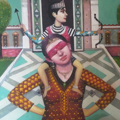mother and child -endless love, 36 x 30 inch, chandreyee dutta,figurative paintings,paintings for living room,canvas,acrylic color,36x30inch,GAL08352406