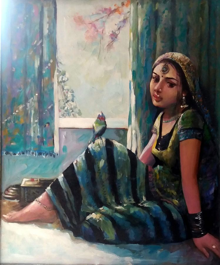 endless wait, 36 x 30 inch, chandreyee dutta,figurative paintings,paintings for living room,contemporary paintings,realistic paintings,love paintings,canvas,acrylic color,36x30inch,GAL08352407