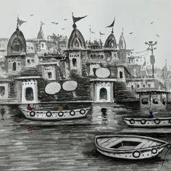 banaras x, 11 x 8 inch, girish chandra vidyaratna,11x8inch,paper,paintings,landscape paintings,paintings for living room,watercolor,GAL03624084