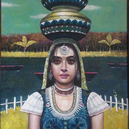 unmasked beauty- banzara, 23 x 30 inch, chandreyee dutta,figurative paintings,paintings for living room,contemporary paintings,realistic paintings,love paintings,canvas,acrylic color,23x30inch,GAL08352409