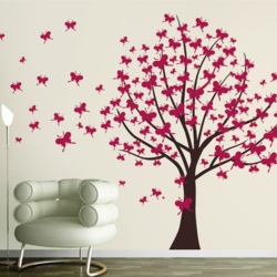 wall stencil: classic butterfly tree wall design stencil, 14 pieces stencil (size 65x48 inches) | reusable | diy, 65 x 48 inch, wall stencil designs,65x48inch,ohp plastic sheets,flower designs,plastic,GAL0124097,ARS135