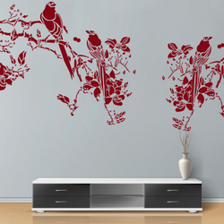wall stencil: custom flower and birds design wall stencil , 7 pieces stencil (size 36x24 inches) | reusable | diy, 36 x 24 inch, wall stencil designs,36x24inch,ohp plastic sheets,flower designs,plastic,GAL0124110,ARS30