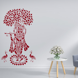 wall stencil: lord krishna wall stencil design for home and office,4 pieces of stencils (size 25x40 inches) | reusable | diy, 25 x 40 inch, wall stencil designs,25x40inch,ohp plastic sheets,flower designs,plastic,GAL0124119,ARS46