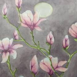 moonlit magnolia, 11 x 16 inch, sonu chopra,11x16inch,fabriano sheet,paintings,flower paintings,nature paintings,paintings for living room,paintings for office,paintings for hotel,paintings for living room,paintings for office,paintings for hotel,watercolor,GAL0854724121