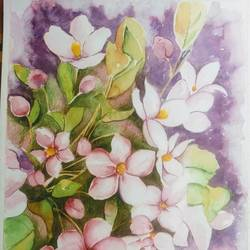 floral delight, 11 x 16 inch, sonu chopra,11x16inch,fabriano sheet,paintings,flower paintings,paintings for living room,paintings for office,paintings for hotel,paintings for hospital,mixed media,pencil color,photo ink,watercolor,GAL0854724122