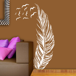 wall stencil: beautiful bird feather wall stencil design for home and office,8 pieces of stencils (size 37x48 inches) | reusable | diy, 37 x 48 inch, wall stencil designs,37x48inch,ohp plastic sheets,flower designs,plastic,GAL0124123,ARS49