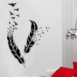 wall stencil: bird feather wall stencil design for home and office,2 pieces of stencils (size 40x60 inches) | reusable | diy, 40 x 60 inch, wall stencil designs,40x60inch,ohp plastic sheets,flower designs,plastic,GAL0124124,ARS51