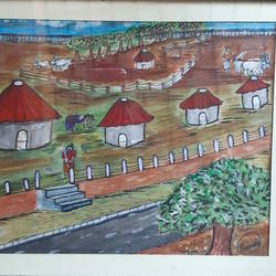 a quiet heavenly village, 14 x 11 inch, venkat subramanian,14x11inch,hardboard,paintings,nature paintings,acrylic color,GAL01378724151