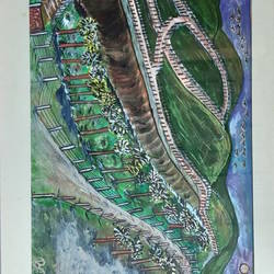 hilltop view, 21 x 14 inch, venkat subramanian,21x14inch,hardboard,paintings,nature paintings,acrylic color,GAL01378724153