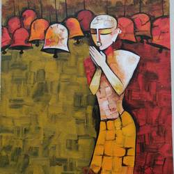worship, 10 x 12 inch, rubal rai,10x12inch,canvas,paintings,folk art paintings,landscape paintings,modern art paintings,conceptual paintings,religious paintings,paintings for dining room,paintings for living room,paintings for bedroom,paintings for office,paintings for bathroom,paintings for kids room,paintings for hotel,paintings for kitchen,paintings for school,paintings for hospital,acrylic color,GAL01298124154
