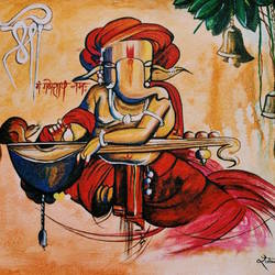 ganesha, 10 x 12 inch, rubal rai,10x12inch,canvas,paintings,folk art paintings,landscape paintings,religious paintings,nature paintings,art deco paintings,ganesha paintings,contemporary paintings,realistic paintings,paintings for dining room,paintings for living room,paintings for bedroom,paintings for office,paintings for kids room,paintings for hotel,paintings for kitchen,paintings for school,paintings for hospital,acrylic color,GAL01298124158,Lord ganesha,elephant,god,ganpati,bappa,ganpati bappa morya,sitar,instrument,music,ganpati bappa morya,ganesh chaturthi,ganesh murti,elephant god,religious,lord ganesh,ganesha,om,hindu god,shiv parvati, putra,bhakti,blessings,aashirwad,pooja,puja,aarti,ekdant,vakratunda,lambodara,bhalchandra,gajanan,vinayak,prathamesh,vignesh,heramba,siddhivinayak,mahaganpati,omkar,mushak,mouse,ladoo,modak,