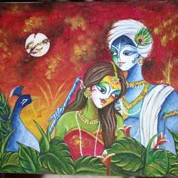 radhakrishna, 9 x 12 inch, rubal rai,9x12inch,canvas,paintings,folk art paintings,landscape paintings,religious paintings,nature paintings,art deco paintings,radha krishna paintings,paintings for dining room,paintings for living room,paintings for bedroom,paintings for office,paintings for kids room,paintings for hotel,paintings for kitchen,paintings for school,paintings for hospital,acrylic color,GAL01298124167