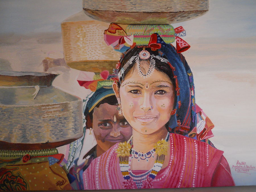 village culture, 25 x 18 inch, amruta dabhekar,portrait paintings,paintings for living room,canvas,acrylic color,25x18inch,GAL09542417