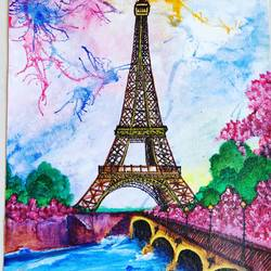 eiffel tower, 9 x 12 inch, rubal rai,9x12inch,canvas,paintings,portrait paintings,nature paintings,street art,realistic paintings,love paintings,paintings for dining room,paintings for living room,paintings for bedroom,paintings for office,paintings for kids room,paintings for hotel,paintings for kitchen,paintings for school,paintings for hospital,acrylic color,GAL01298124177