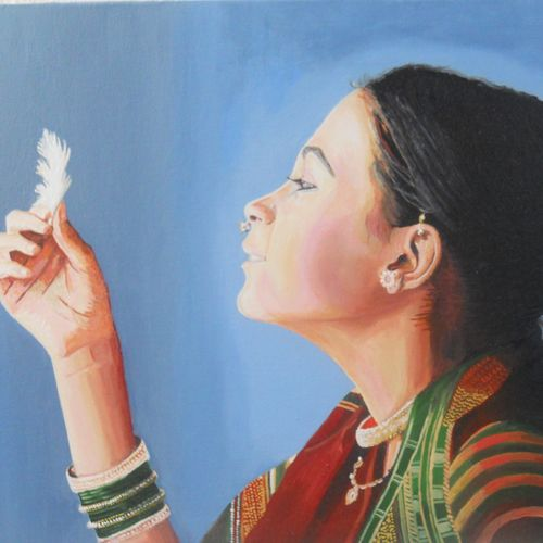 girl, 23 x 15 inch, amruta dabhekar,portrait paintings,paintings for living room,canvas,oil paint,23x15inch,GAL09542418