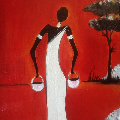 tribal woman, 17 x 12 inch, promila singh,17x12inch,hardboard,paintings,modern art paintings,paintings for living room,oil color,GAL0823224183