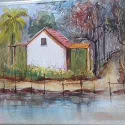 home in the fields, 15 x 11 inch, surendra  panchal,15x11inch,handmade paper,paintings,landscape paintings,paintings for living room,paintings for office,paintings for hotel,watercolor,GAL01323524188