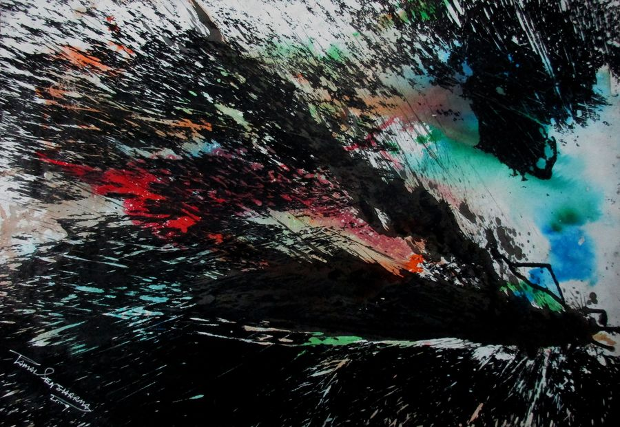 alo adhare, 21 x 14 inch, tamal sen sharma,21x14inch,cartridge paper,paintings,abstract paintings,paintings for dining room,paintings for living room,paintings for bedroom,paintings for office,paintings for bathroom,paintings for kids room,paintings for hotel,paintings for kitchen,paintings for school,paintings for hospital,mixed media,GAL01201324190