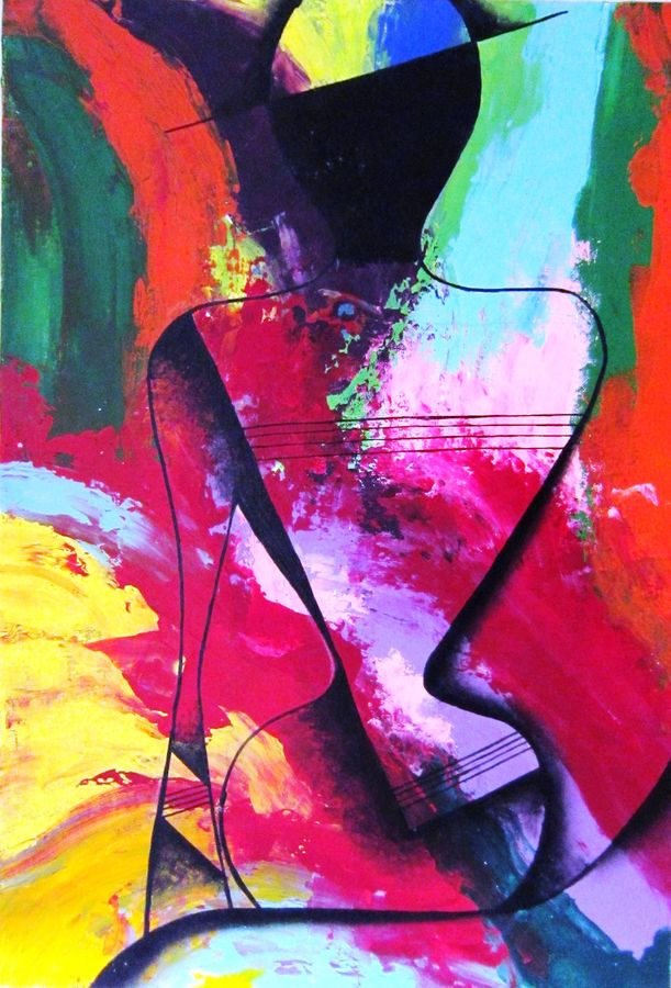 lady in abstract, 16 x 24 inch, aparna warade,abstract paintings,paintings for living room,canvas,oil paint,16x24inch,GAL089242