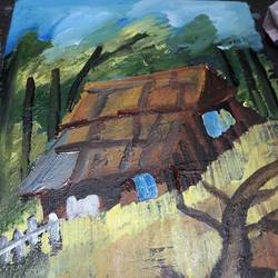 the beautiful village hut, 12 x 16 inch, ratul banerjee,12x16inch,canvas,paintings,landscape paintings,paintings for dining room,paintings for living room,paintings for bedroom,paintings for office,paintings for bathroom,paintings for kids room,paintings for hotel,paintings for kitchen,paintings for school,paintings for hospital,acrylic color,GAL0356424251