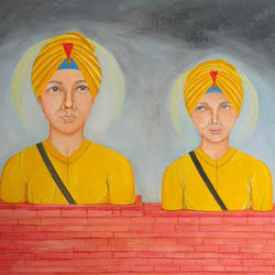 baba zorawar singh & fateh singh ji, 16 x 12 inch, dilpreet honey,16x12inch,thick paper,paintings,religious paintings,oil color,GAL0677624267