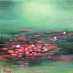 water lilies !! lotus art, 12 x 12 inch, amita dand,12x12inch,canvas board,paintings,abstract paintings,flower paintings,nature paintings,impressionist paintings,paintings for dining room,paintings for living room,paintings for bedroom,paintings for office,paintings for hotel,paintings for hospital,acrylic color,mixed media,pencil color,GAL0146724268