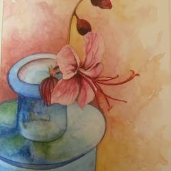 hibiscus charm, 12 x 16 inch, sonu chopra,12x16inch,fabriano sheet,paintings,flower paintings,still life paintings,paintings for living room,paintings for office,paintings for hotel,paintings for hospital,mixed media,pencil color,watercolor,GAL0854724277