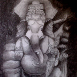 ganesha, 12 x 17 inch, arpana d,paintings for living room,fine art drawings,religious paintings,vertical,ganesha paintings,paper,charcoal,12x17inch,GAL09642428,vinayak,ekadanta,ganpati,lambodar,peace,devotion,religious,lord ganesha,lordganpati